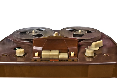 vintage reel-to-reel recorder, close up