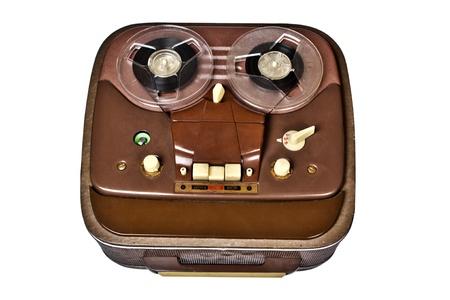 vintage analog recorder reel to reel on white background Stock Photo - 18443319