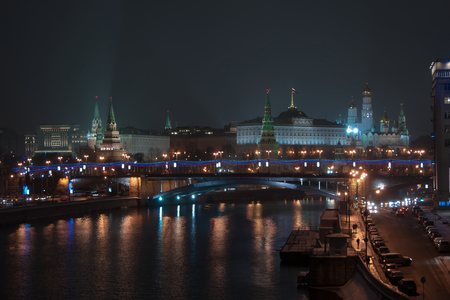 view of the Moscow Kremlin and Moscow river at night