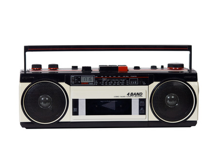 stereo cut: retro ghetto blaster isolated with clipping path