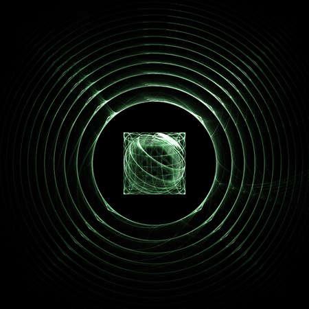 Green radar circles fractals on black. An abstract computer generated fractal design. Stock Photo
