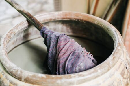Dyeing silk, Using traditional natural materials, Raw multicolored cotton thread Artisan yarn dyed with indigo natural beauty intend to concentrate on the most beautiful colors.