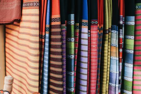 Traditional Thai silk cloth in fashion store.Beautiful background Household handicrafts of Thai silk