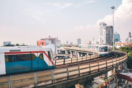 BANGKOK, THAILAND - JAN 5 : BTS Skytrain or The Bangkok Mass Transit System Victory Monument at Victory Monument Station near BTS Skytrain in Bangkok