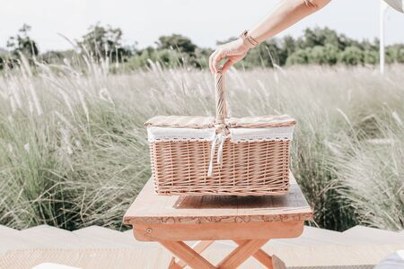 Woman holding basket ready to start picking up herbs and flowers on her garden in summer day go for a picnic in the garden