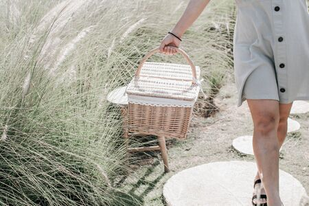 Woman walking in garden with picnic basket and gathering flower. 版權商用圖片