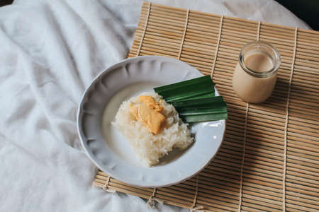 Thai sweet sticky rice with durian,glutinous rice eat with coconut milk durian creamy sauce is a delicious sweet thai food on table.One of most famous Thai dessert in summer Stock Photo