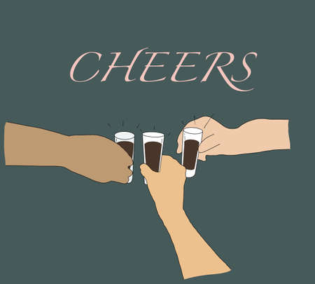 Celebrating Christmas or New Year party. Diversity people toasting drinks. Multiethnic friends congratulating each other with new year. Celebration and nightlife concept,  イラスト・ベクター素材