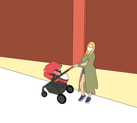 Mother with face masks, due to the virus pandemic, pushes a stroller with her child on empty street. Social distancing life.