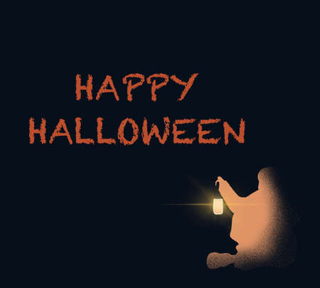 Happy Halloween greeting card concept.Lettering for Halloween woman holding lantern sitting in the dark night for decoration and covering on the dark background.
