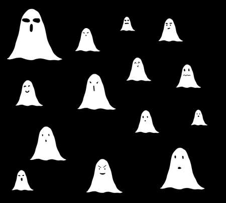 Set of seamless pattern Halloween spooky white ghosts isolated on a black background for fabric, textile, wrapping, scrapbooking. Cute ghost cartoon collection. Standard-Bild - 167169464