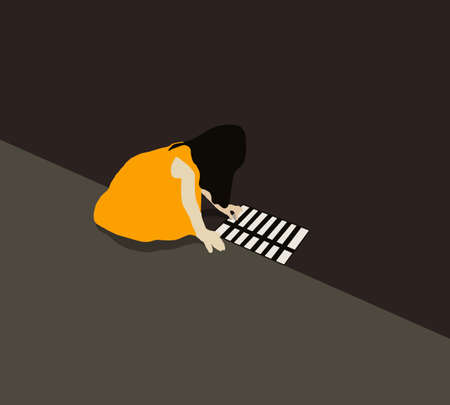Girl in yellow dress playing drop something in street gutter or drain hole. Child Look lonely on street in High color contrast concept. 向量圖像