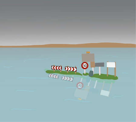Road closed because of flooding countryside. Speed limit sign almost completely submerged. Illustration