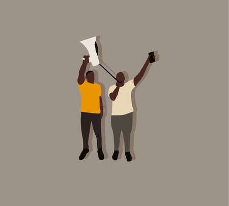 Two black men shouting on a megaphone in protest on street. Justice for black people. Against Racial Discrimination in the police. Ilustrace