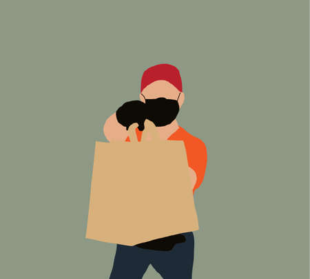 Delivery man wears face mask and hand gloves is carrying diverse of paper containers for takeaway food. The concept of service delivery. Advertising space. Copy of the space.