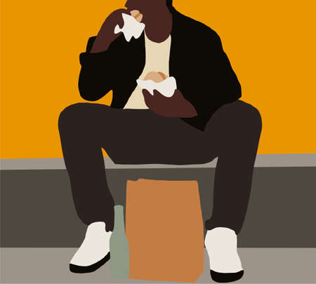 Black man sitting on street eats hamburger. Hungry guy holds a piece of hamburger in his hands, looks at him and is going to eat it. Fast food. 矢量图像