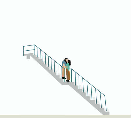 Two beautiful and happy girls standing and kissing on the stairs. Lesbian Couple Together outdoors. together. love. dreams. Couple hugging, relations happiness. Concept Ilustração