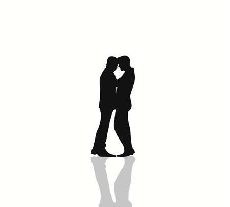 Attractive Gay couples silhouette hugging looking each other and kissing in the room on white background