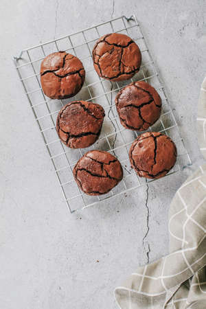 Chocolate brownie cookies. Baked Creamy Dark chocolate chip cookies on white texture background. Morning table. Copy space.