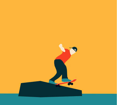 Teenager skateboarder does an ollie trick. Guys in casual clothes skateboarding and showing exciting tricks flat style design. City landscape on background. Extreme sport concept