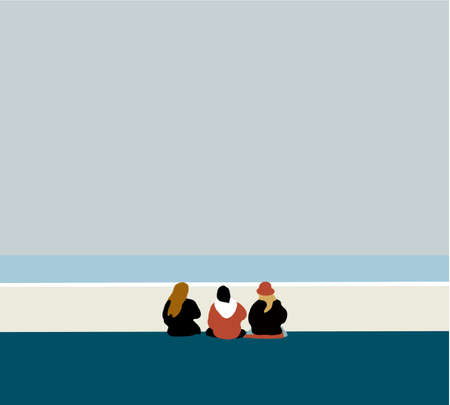 Happy people sits on background of empty beach during their vacation in an idyllic nature scene destination. Travel or sea vacations concept