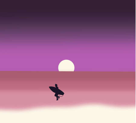Silhouette of surfer man on the beach at sunset vector. Vintage filter effect. Tourists on vacation on ocean. Ilustración de vector