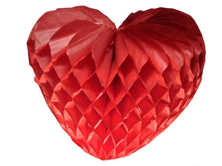 incarnadine: Red heart from a paper on a white background Stock Photo