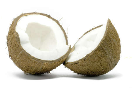 Two half of coconut isolated on white Stock Photo - 1011166