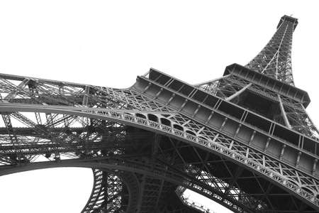 Eiffel tower on clear background in black and white Stock Photo - 1455550