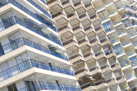 sable: A view of hotel balconies in sable de olone Stock Photo