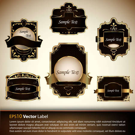 Vector set of luxury labels| Falling Leaves | EPS10 Compatibility Required