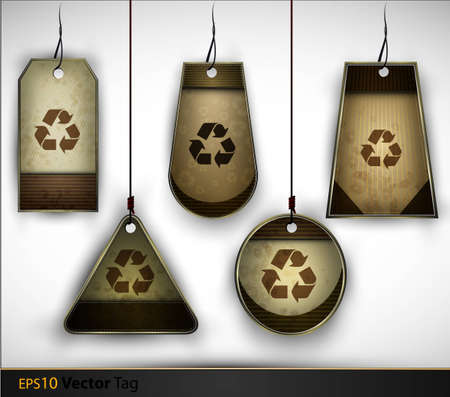 Brown, Vintage, Cardboard Recycling tags for Organic Businesses | Every Tag Placed on Separate Layer Illustration