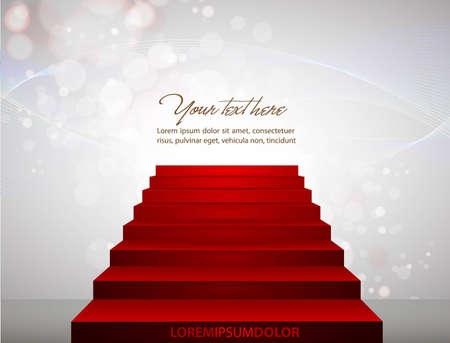 Alfombra roja en las escaleras que apuntan a su texto.
