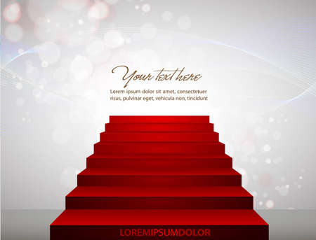 Red carpet on stairs pointing to your text. Stock Vector - 10810477