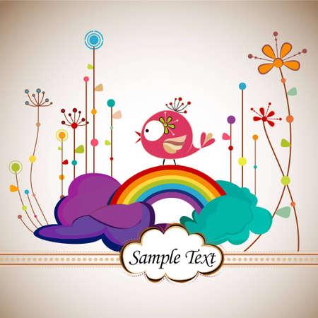 arcoiris caricatura: Composici�n de primavera con p�talos de flores floreciendo, Linda Bird y arco iris en las nubes