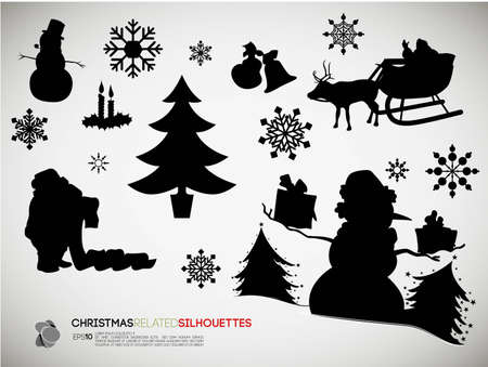 Christmas Related Silhouettes | Vector Set Stock Vector - 10871617