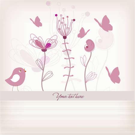birdie: Pastel Invito Toned Floral | Birthday Card | Composizione Clean