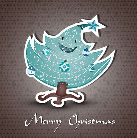 compatibility: Christmas greeting card whith cute Christmas tree  | EPS10 Compatibility Required