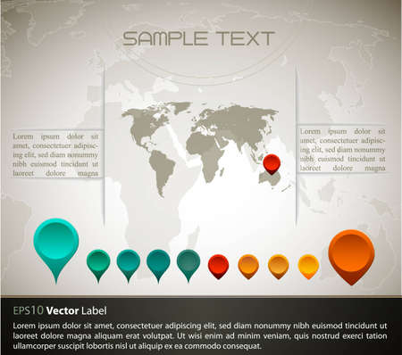 World map with set of gps indicator button | EPS10 Compatibility Required