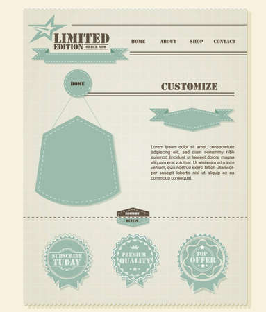 required: Retro Vintage Styled Website Template  | EPS10 Compatibility Required Illustration