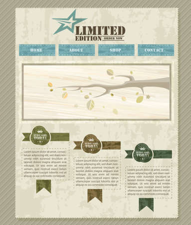 Retro Vintage Styled Website Template  | EPS10 Compatibility Required Stock Vector - 11194791