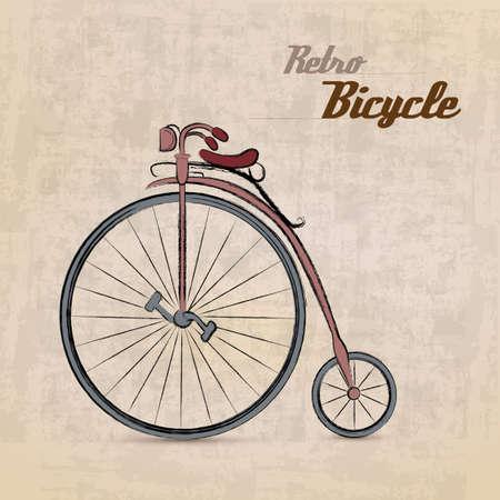 Vintage Retro Bicyclewith hand drawn design  Illustration