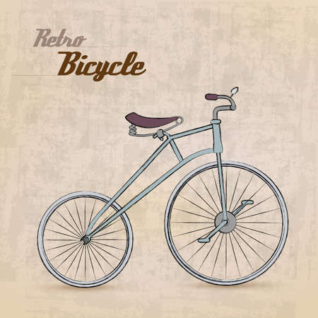 old fashioned: Vintage Retro Bicycle with hand drawn design  Illustration