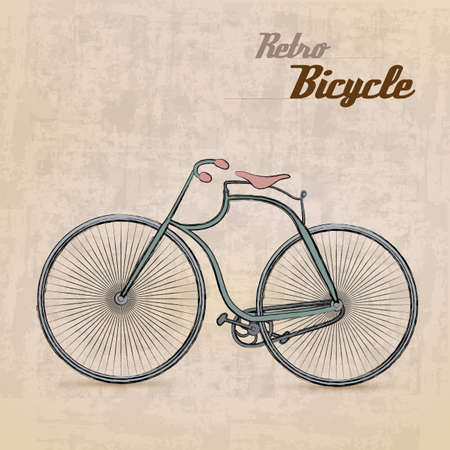 cyclist: Vintage Retro Bicycle with hand drawn design  Illustration