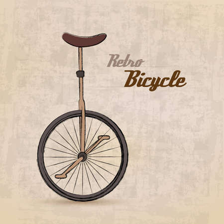 bicycle wheel: Vintage Retro Bicycle with hand drawn design  Illustration