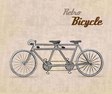 Vintage Retro Bicycle with hand drawn design  Illustration