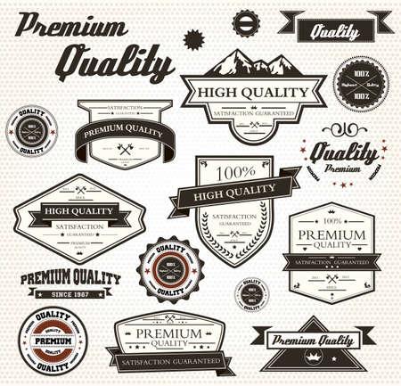 Premium Quality Labels with retro design  Illustration