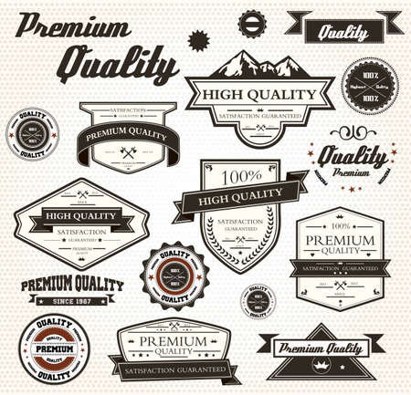 Premium Quality Labels with retro design  Vector