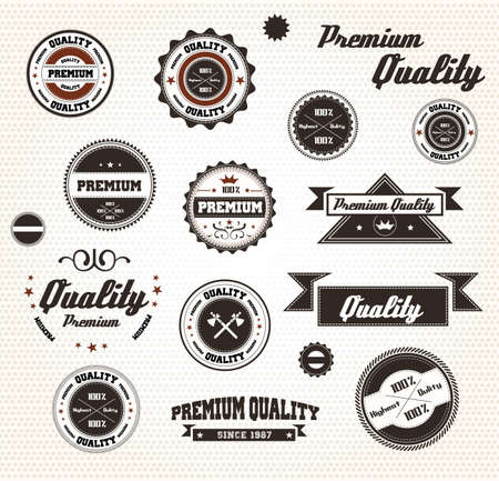 Premium Quality Labels with retro design / Compatibility Required Stock Vector - 15817499