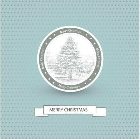 Christmas Card with retro design  Vector